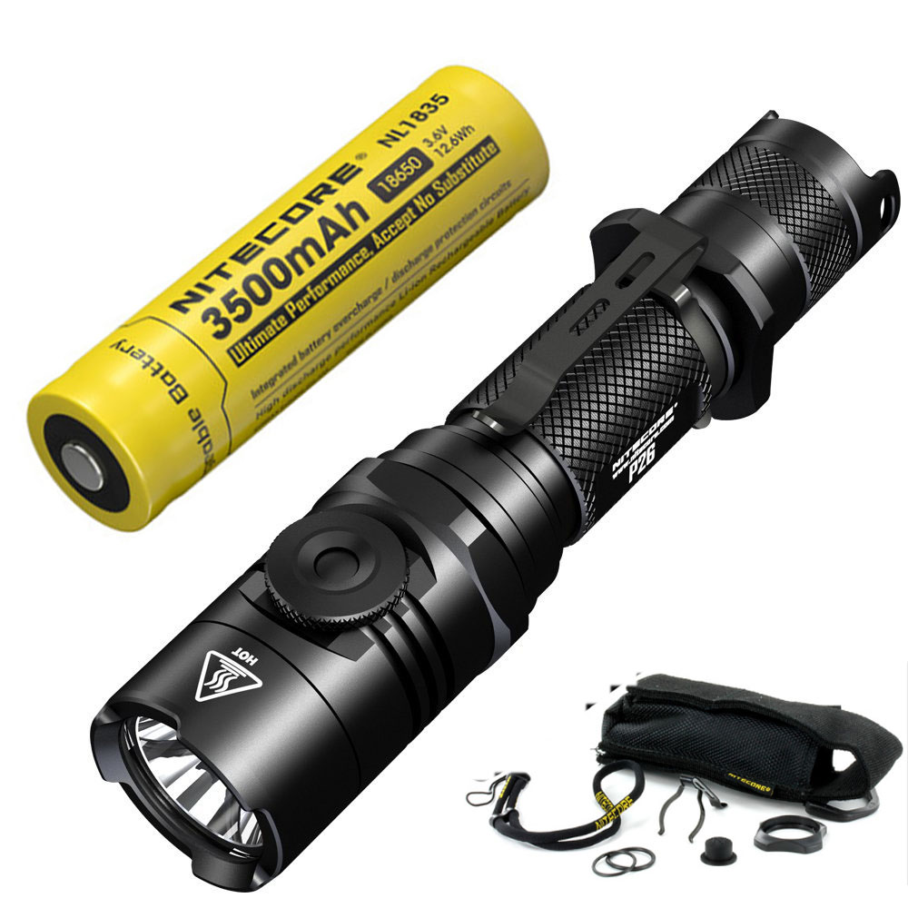 NITECORE P26 1000LM LED Infinitely Variable Brightness Tactical Flashlight Rotary Swith  ...