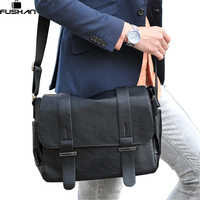 Brand Design Top PU Leather Men Bag Casual Business Leather Mens Messenger Bag Vintage Fashion Mens