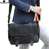 Brand Design Top PU Leather Men Bag Casual Business Leather Mens Messenger Bag Vintage Fashion Mens