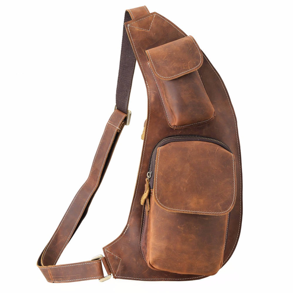 TIDING Vintage Men Messenger Sling Crossbody bag Cowhide Genuine Leather Chest bag 3109TIDING Vintage Men Messenger Sling Crossbody bag Cowhide Genuine Leather Chest bag 3109