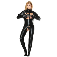 Sexy Women Catsuit Faux Leather Bodycon Fetish Open Bust Bodysuit Sexy Crotchless PVC Latex Tight Fitting Jumpsuits