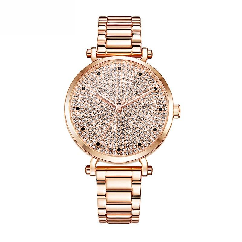 Relogio Feminino Steel Bracelet Rose Gold Watches Woman Quartz Watch Ladies Fashion Watch Brand Luxury Dress Clock Waterproof