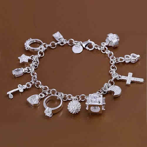 silver plated bracelets for women Twisted Thick chain  jewelry Couple Bracelet Bridal Jewelry anillos de plata