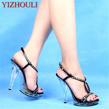 13-15 cm shoes high with diamond sandals wedding dress art pictures shoes stage designer women's shoes