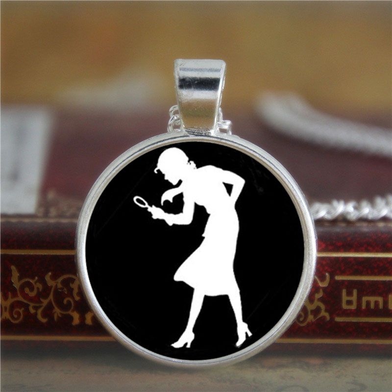 10PCS Nancy Drew necklace Girl Detective, Mystery Book Jewelry, Black and White Art necklace White print glass necklace