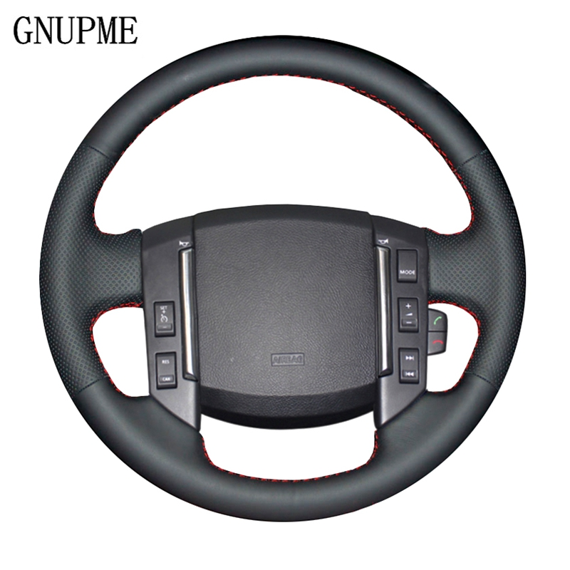 GNUPME DIY Artificial Leather Black Car Steering Wheel Cover For Land Rover Freelander 2 2007 2008 2009 2010 2011 2012-2018