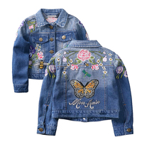Baby Girls Denim Jackets Coats Fashion Long Sleeves Embroidery Denim Jacket Spring Fall Children Outwear Kids