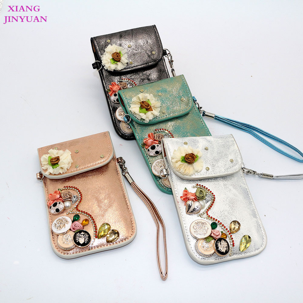 5 Inch Phone Universal Zero Wallet 2017 New Boho Set Auger Flower Cell Phone Pocket Vintage Multifunction Small Square Bag