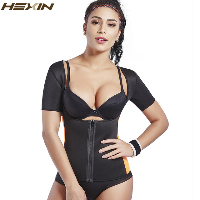 61341fc04b1 HEXIN Neoprene Waist Trainer Vest Sauna Sweat Suit Tummy Control Workout  Shapewear with Sleeves Fajas Body Shaper Plus Size 6XL