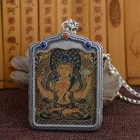 Новый 925 Серебряный тибетского бодхисаттвы Авалокитешвара танка кулон Цепочки и ожерелья чистого серебра тибетский Куан Инь Будда Цепочки