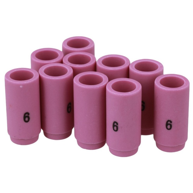 10Pcs Pink Ceramic 13N10 6# Alumina Shield Cup TIG Welding Torch Nozzle Fits For WP-9 20 25