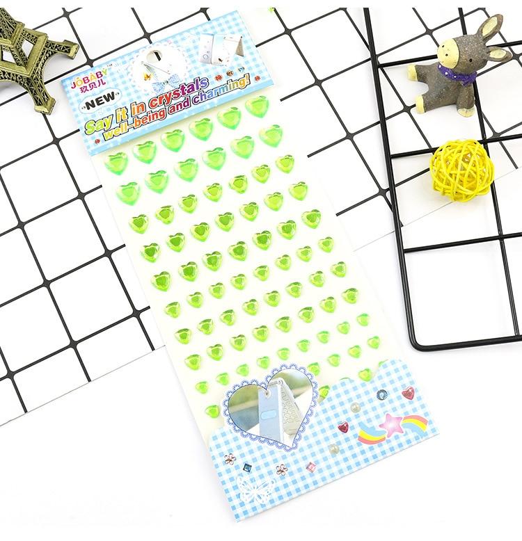 Детские игрушки наклейка в форме сердца DIY Наклейка мобильного искусства Кристалл бриллиант Стразы самоклеющиеся Скрапбукинг Стикеры s GYH - Цвет: Green
