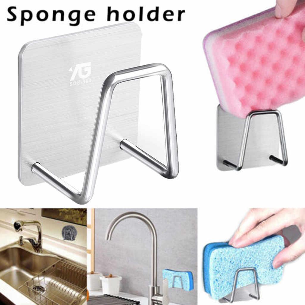 ISHOWTIENDA 2019 Stainless Steel Kitchen Sponge Holder Brush Soap Dishwashing Liquid Drainer Hot sale
