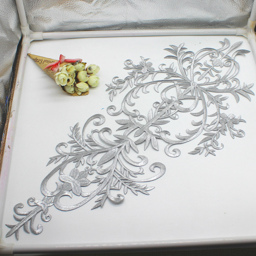 Image 5 - Gold Appliqued Iron On Motif Flower Dimija Vintage Diy Trims Shiny Metallic Embroidered Patches Gold And Silver 58cm*27cm-in Lace from Home & Garden
