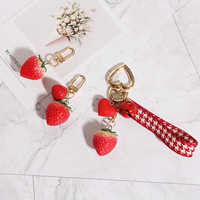 1PC Strawberry Red Heart Keychain Keyring For Women Girl Jewelry Simulated Fruit Cute Car Key Holder Keyring Best Friend K23