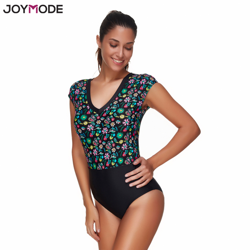 JOYMODE Swim Bodysuit Ladies Retro Sexy Floral Printed Monokini Swimsuit V Neck Sleeves Women One Piece Swimwear Bathing suits 2017 new sexy one piece swimsuit strappy biquini high waist one piece swimwear women bodysuit plus size bathing suits monokinis