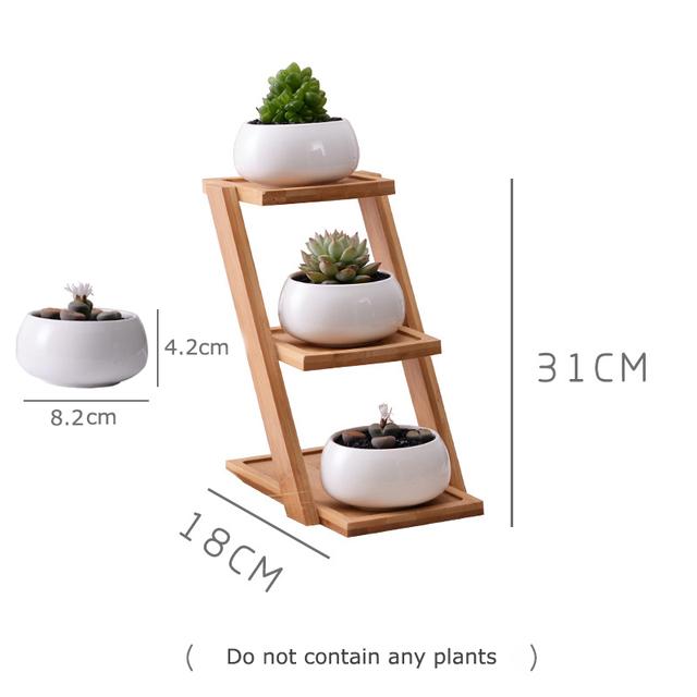 1 Set Modern Minimalist White Ceramic Flowerpot Succulent Plant Pot 3 Bonsai Planters with 3-Tier Bamboo Shelf Home Garden Decor