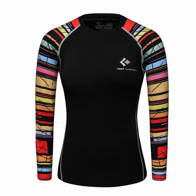 2017 Nuevas mujeres ropa de compresión de manga larga t shirt casual gimnasio elástica medias quick dy remata la capa baja térmica