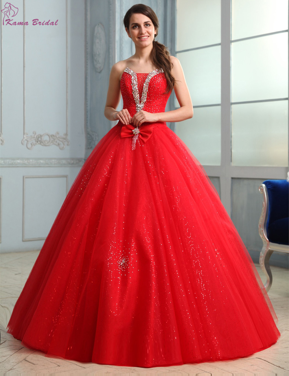 7742fe483 vestidos de 15 anos Red Puddy Tulle Prom Dress 2016 Strapless Beading  Crystal Vintage Prom Gown Lace up masquerade ball gowns