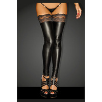 High Quality New Sexy Women Lady Wet Look Faux Leather Thigh High Stockings Gothic Lace Vinyl