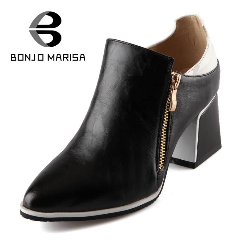 ФОТО Hot Women Pumps Zipper Closure Color Mixed Platform Pumps Vintage Chunky Heel Pointed Toe Shoes Casual Dress Shoes Woman 33-43