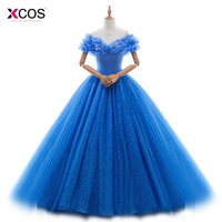 Real Photo 2017 Cinderella Cosplay Costume Party Gowns Ball Gown Vestido De 15 Anos Vestido Royal Blue Quinceanera Dresses