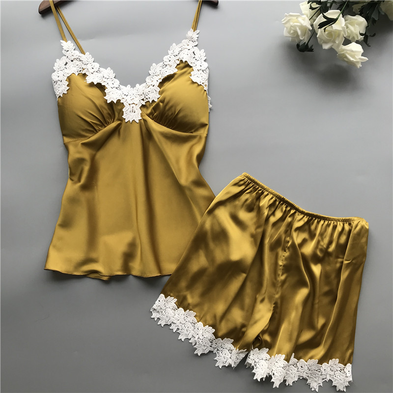 Daeyard Women Sexy Lingeries Silk Appliques Cami Top And Shorts Two Pieces Pajama Sets Sexy Lace Pajamas Sleepwear Home Clothes