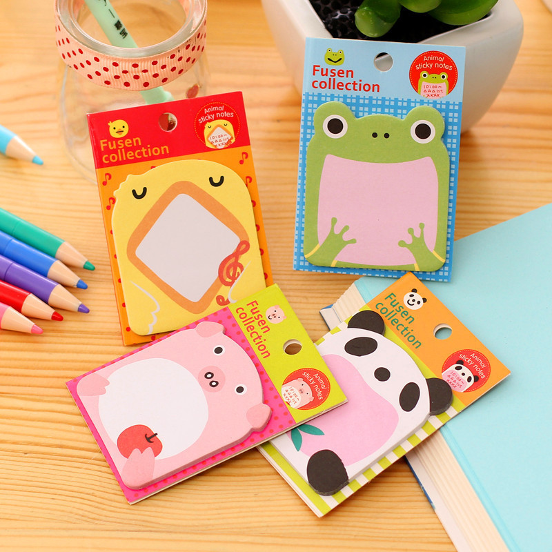 Hot Sale 4 Pcs Animal pig Panda Cute Kawaii Sticky Notes Post It Memo Pad School Supplies Planner Stickers Paper Free shipping