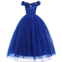 Cinderella Cosplay Dress Girls Beads Tulle Long Princess Dress Kids Ball Gown Halloween Role Play Party Birthday Clothing BW259