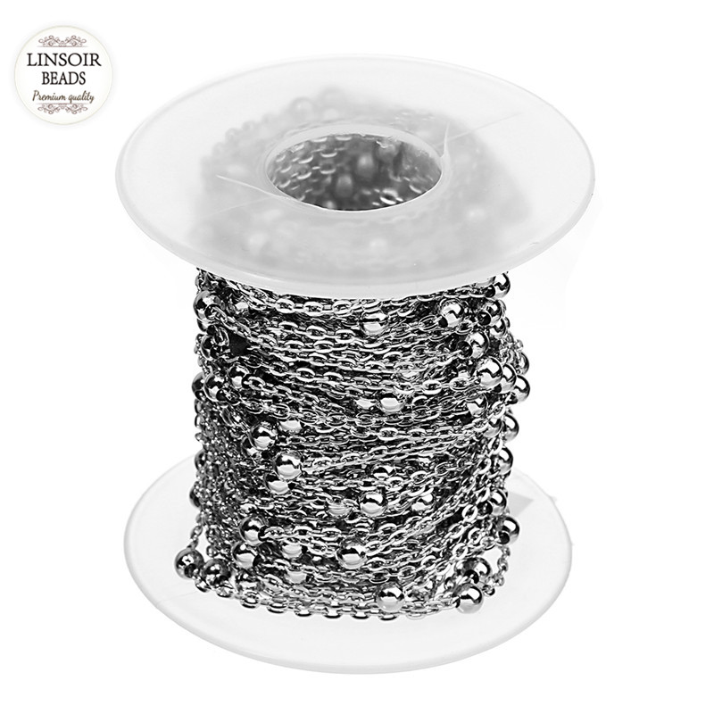 10 Yards/Roll 1.5mm 2mm Silver Tone Stainless Steel Curb Ball Beaded Satellite Chain O Ring Bulk Link Chains for Jewelry Making
