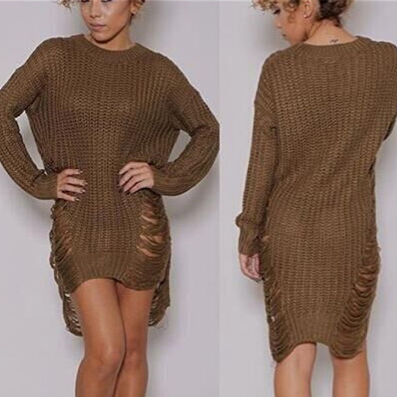 Women Ripped Knitted Sweaters and Pullovers Spring Long Sleeve ...