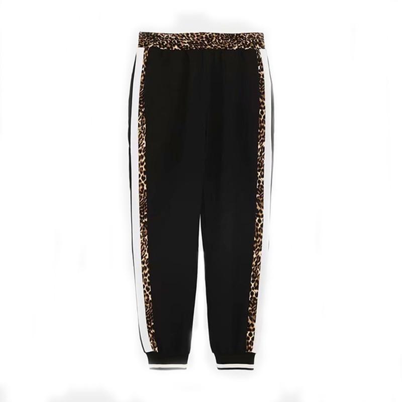 Women-s Fashion Leopard Patchwork Harem Pants Woman High Waist Animal Print Striped Trousers Ladies Active Wear Sweatpants Sets
