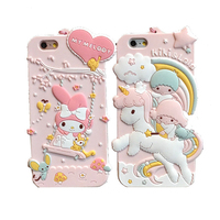 For IPhone 6 6S 7 Plus Cartoon Case Cute My Melody Little Twin Stars Soft Rubber