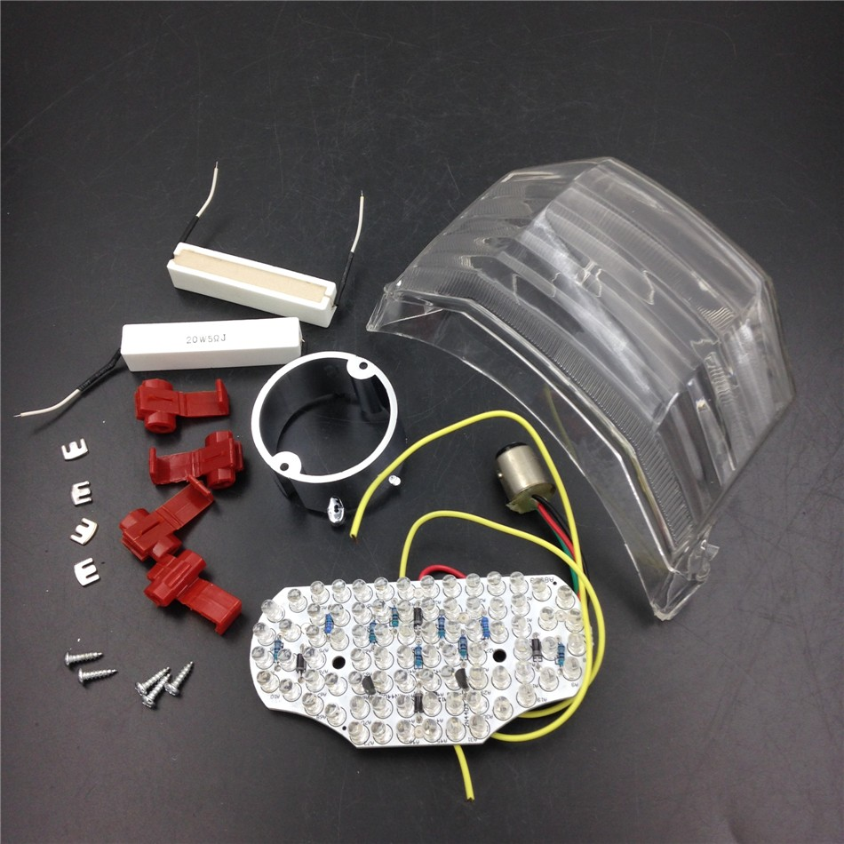 Aftermarket free shipping motorcycle parts LED Tail Brake Light Turn Signals for Yamaha 2004-2009 FZ6 Fazer 600 CLEAR aftermarket free shipping motorcycle parts led tail brake light turn signals for honda 2000 2001 2002 2006 rc51 rvt1000r smoke