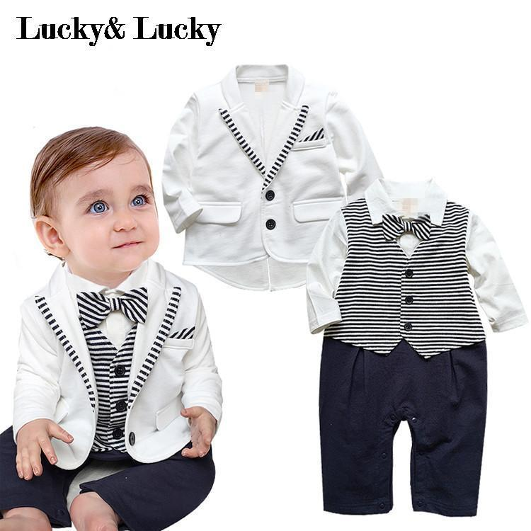 20f5dc7a43e gentleman baby boy clothes white coat+ striped rompers clothing set ...