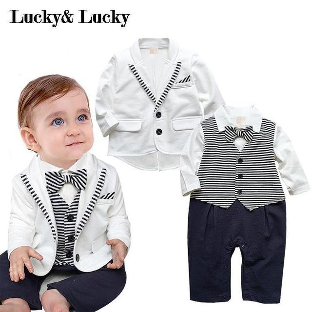 78a22a90c270 gentleman baby boy clothes white coat+ striped rompers clothing set newborn  wedding suit