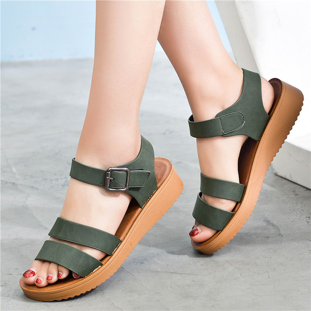 ZZPOHE 2018 summer Mother shoes fashion leather soft comfortable flat  sandals Women Platform Wedge shoes ladies casual sandals
