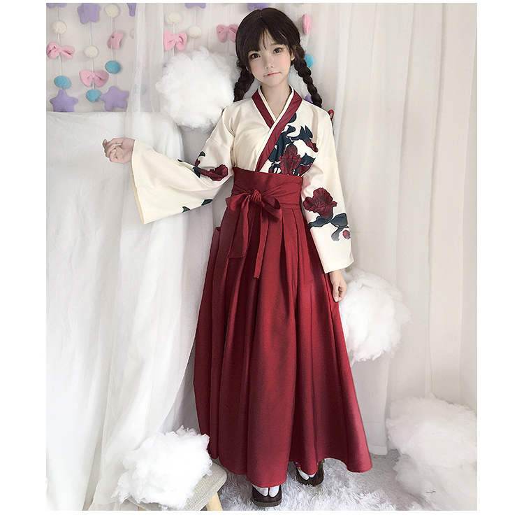 Girls Japanese Style Retro Kimono Floral Long Sleeve Woman Party Dress Summer Fashion Outfits Top Bow Skirt Haori for Female 5