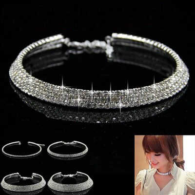 Fashion Hot Sale Star Style New Women Shiny Crystal Rhinestone Collares Necklace Choker Necklaces Wedding Birthday Jewelry