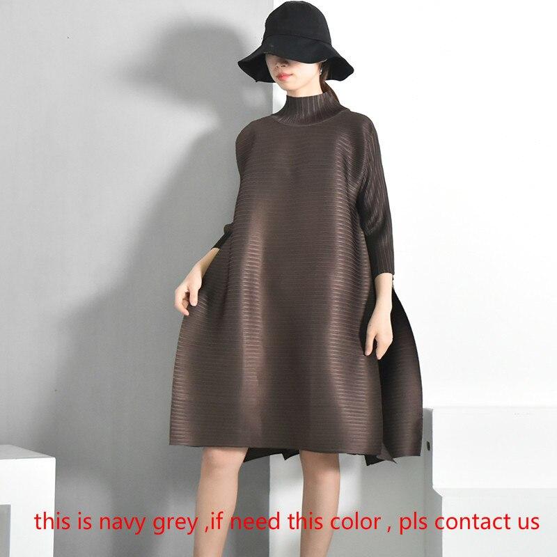 SHENGPALAE 2019 printemps nouvelle mode rouge à manches longues col roulé lâche grande taille pli genou-longueur une ligne robe Vintage femmes EB015 - 2