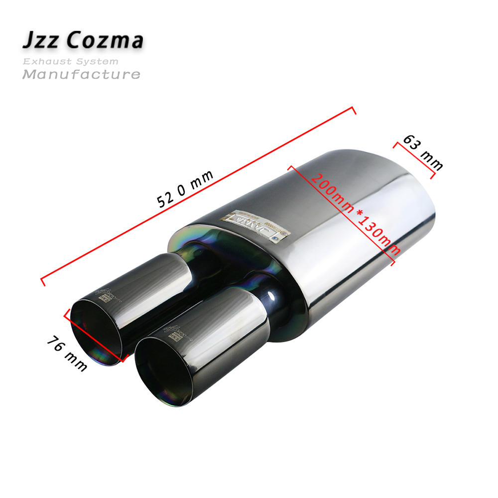 JZZ Universal 2 5 Stainless Steel 201 Black Car Exhaust Muffler Performance Enable Loud Sound 3