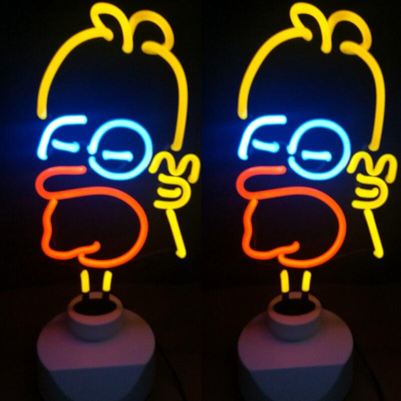 Néon LED veilleuse lampe de Table fête de vacances décoration de la maison flamant rose crème glacée lampe de Table cadeau de noël verre néon lumière