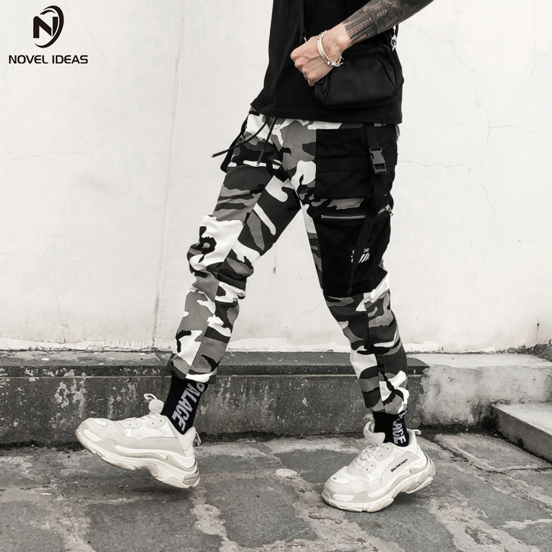 Roman ideen Farbe Camo Cargo Hosen 2018 Mens Fashion Baggy Taktische Hosen Hip Hop Casual Baumwolle Multi Taschen Hosen Streetwear