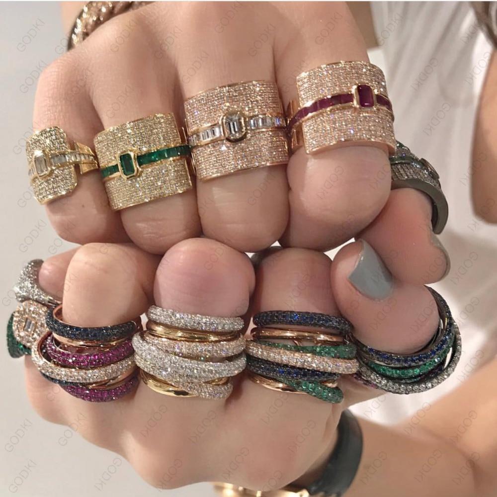 GODKI Luxury Geometry Statement Stackable Rings For Women Wedding Cubic Zircon Engagement Dubai Gold Bridal Choker Finger Rings