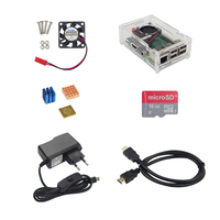 Raspberry Pi 3 Model B+ Accessories kit Acrylic Case+CPU Fan+5V 2.5A Power Adapter+Heat Sink+16G SD Card+HDMI Cable for RPI 3B
