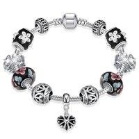 925 пробы серебряный браслет с бусинами для женщин, украшение для вечеринки, дня рождения, модные ювелирные изделия, античный стиль, форма сер...