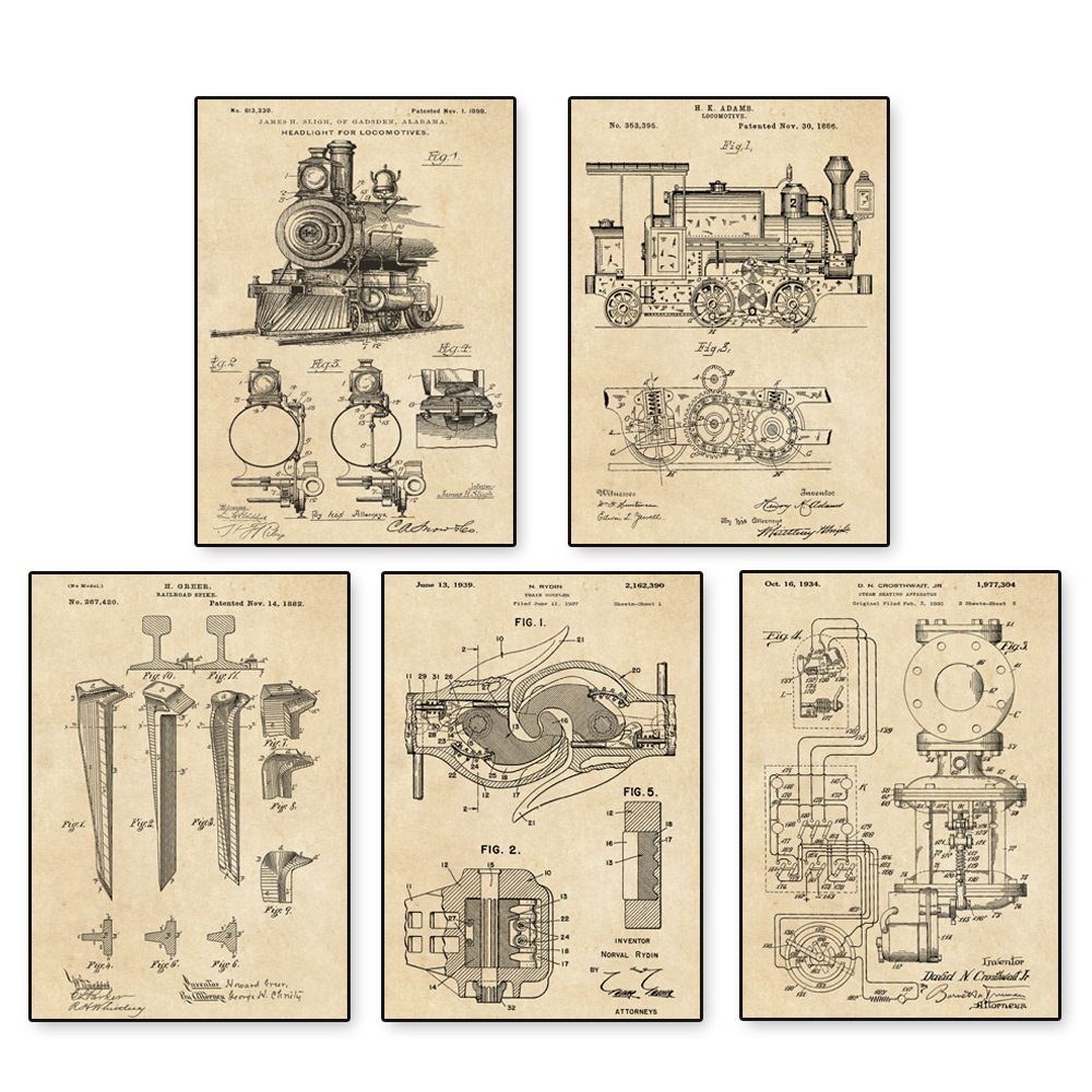 Vintage Train Patent Art Locomotive Steam Engine Coupler Poster 5 In Diagram Of 1 Sketch Up Nursery Wall Classic Painting Calligraphy From