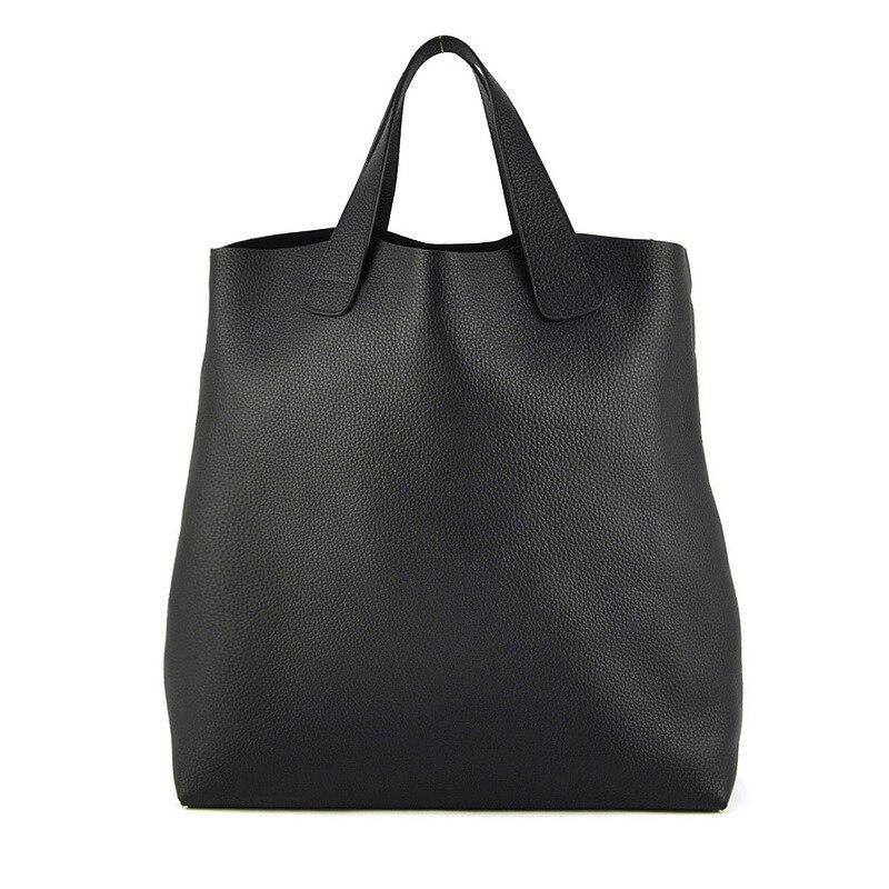 Femmes véritable cuir véritable grand sac fourre-tout Shopper Shopping sac à main épaule mode sac à main Vintage quotidien décontracté Designer dame