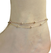 Fashion Gold Silver Double Chains Anklet Multiple Layers Foot Jewelry Barefoot Beach Anklet For Women