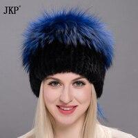 2017 autumn and winter women fur hat winter real mink fur big silver fox fur pom poms hat new hot stretch cap DXJ17 21